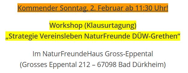 Erinnerung Zum Workshop Klausurtagung 2020 Naturfreunde Bad Dürkheim Grethen