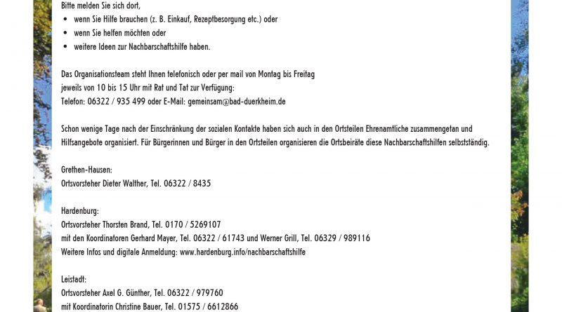 Nachbarschaftshilfen - Aktuelle Information der Stadt Bad Dürkheim