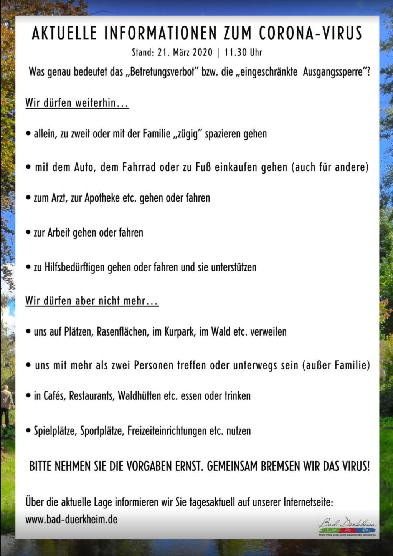 Aktuelle Information Bad Dürkheim zu Corona Stand 21.03.2020 11.30 Uhr