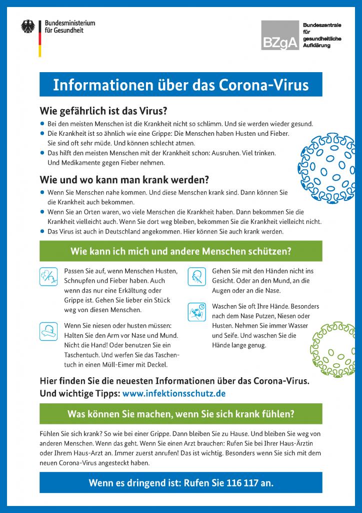 Informationen über Das Corona Virus der BZgA